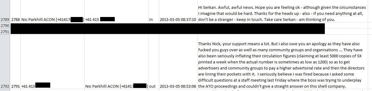 Nicolas Parkhill responds back via SMS to 2013 Message_UnrelatedSMSesBlackedOut