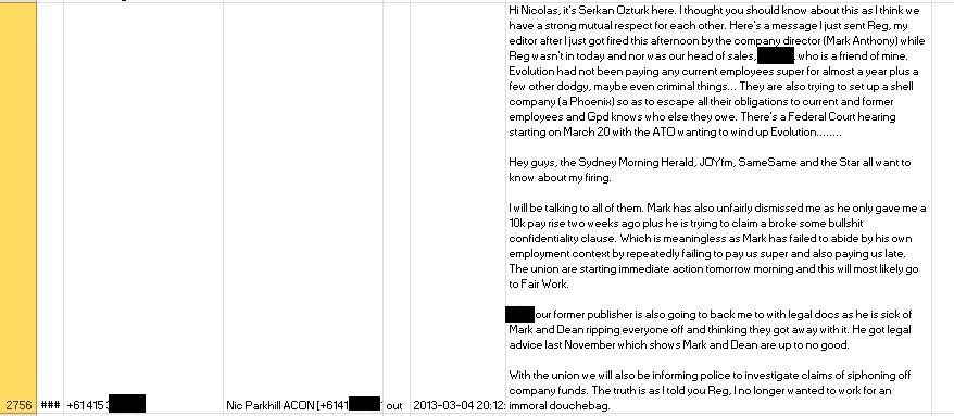 SMS sent to Nicolas Parkhill About Evo Media on March 4 2013_NamesRedacted