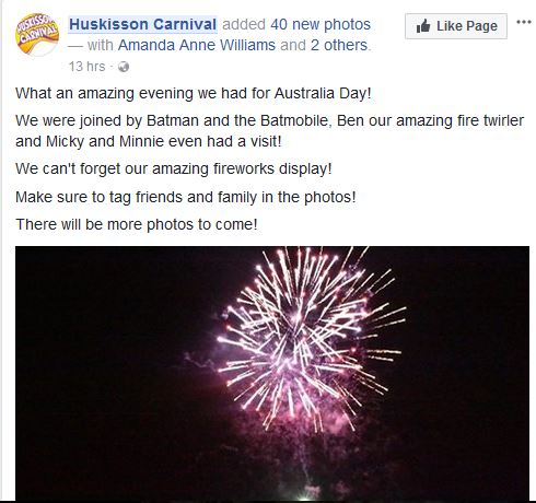 Huskisson Carnival claims a great night was had by all on Australia Day