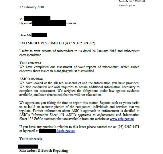 Letter to Dentist from ASIC about Mark Anthony.JPG