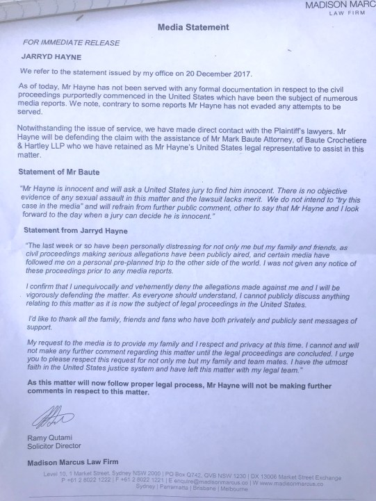 Jarryd Hayne and Lawyers Letter