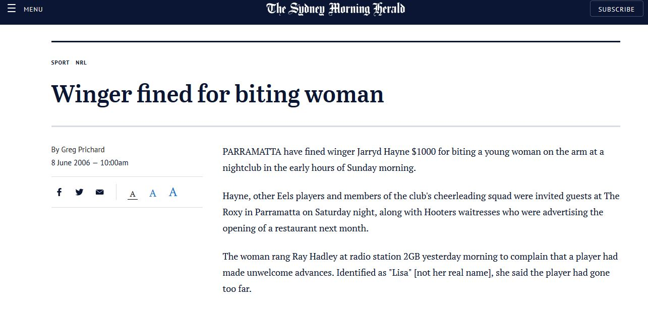 Jarryd Hayne bites 18 yr old girl in 2006 SMH Story