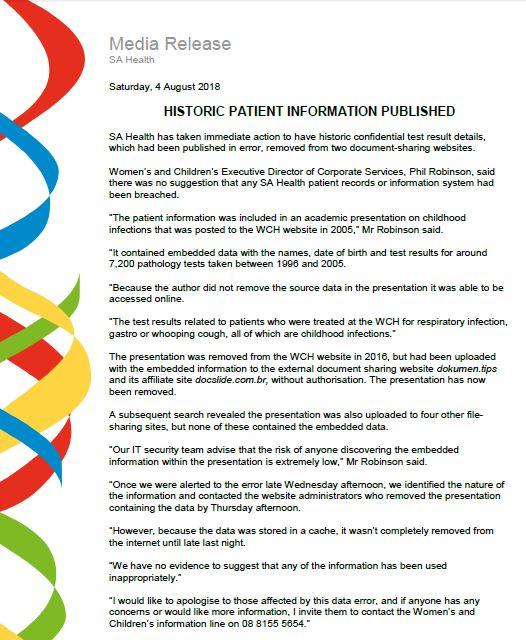 SA Health Aug 2018 media release on information risk
