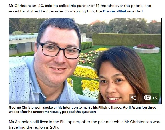 George Christensen and bride to be Daily Mail CourierMail.JPG