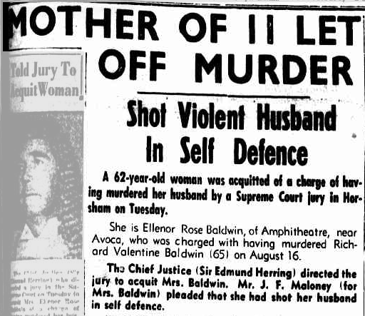 A DUEL TO THE DEATH! THE SHOCKING TRUE TALE OF ELEANOR ROSE BALDWIN! Wife shoots husband in the heart after decades of torment