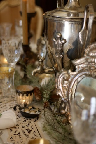 An antique holy water vessel makes an unexpected centerpiece.