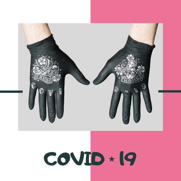 Нитриловые перчатки TRUEGLOVE с тату принтом COVID-19