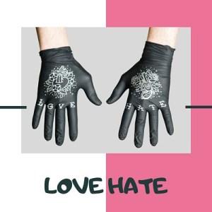 Нитриловые перчатки TRUEGLOVE с тату принтом Love Hate