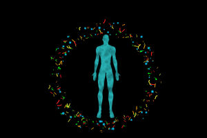 Graphic showing a human body surrounded by microbiome that must be in balance for healing to occur