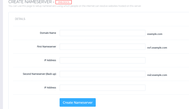 how to create nameservers in cPanel