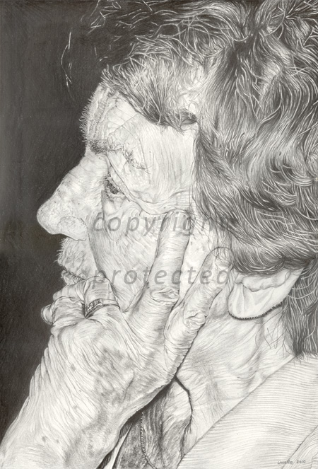 Grandmother portrait in graphite pencil
