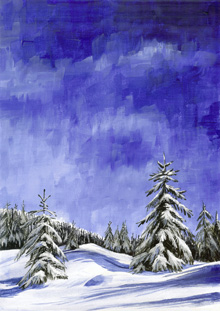 snowy landscape design for greeting cards