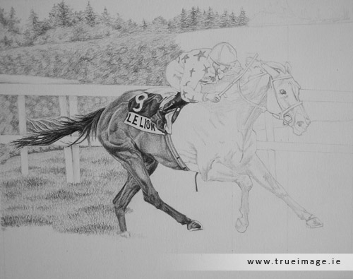 horse and jockey portrait in pencil - progress image 3