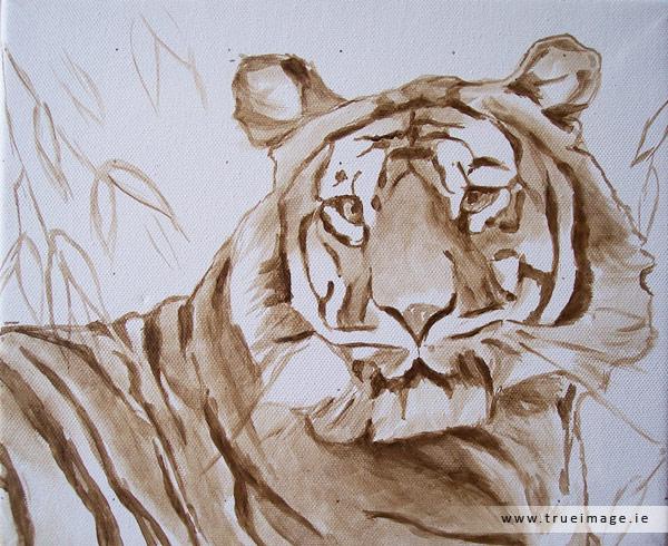 sumatran tiger painting in progress - image 1