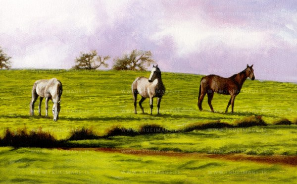 three horses in a field painting