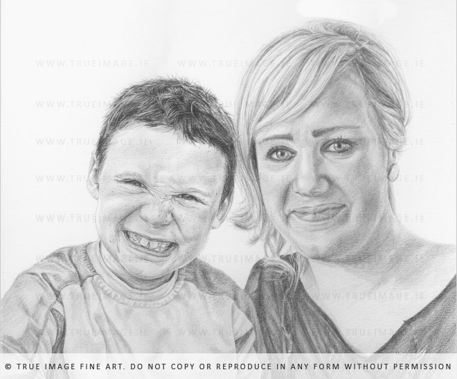 mother and son portrait in pencil