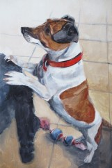 jack russell portrait painting work in progress