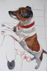 jack russell portrait painting - colour blocking