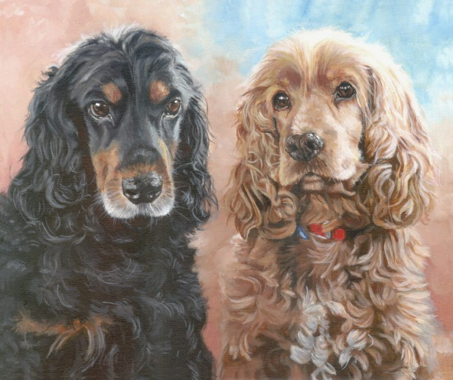 two-cocker-spaniels-dog-portrait-painting