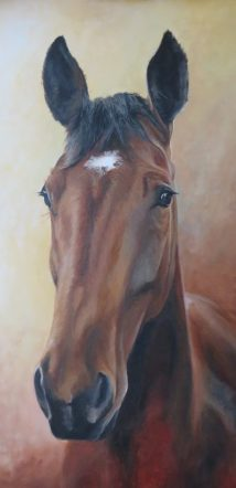 horse portrait painting progress 6