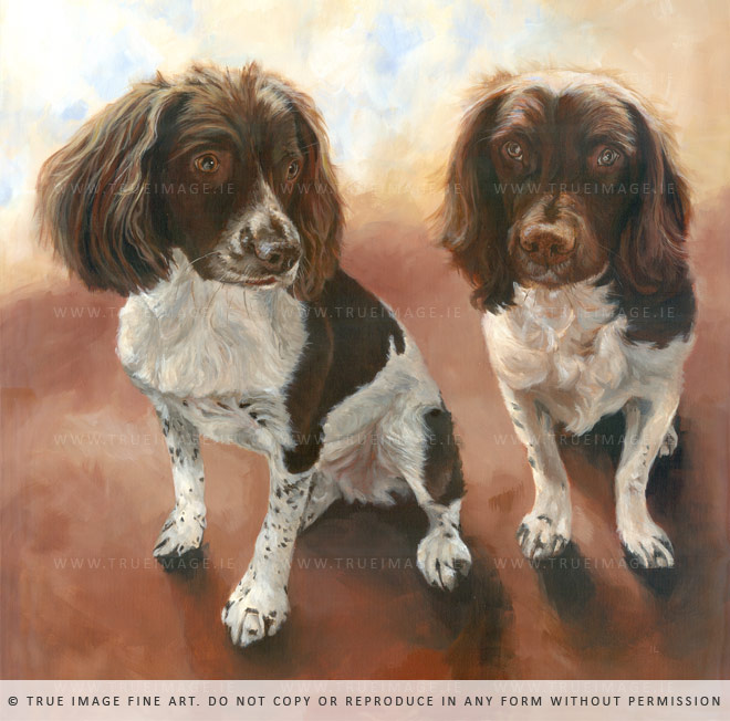 two springer spaniels painting