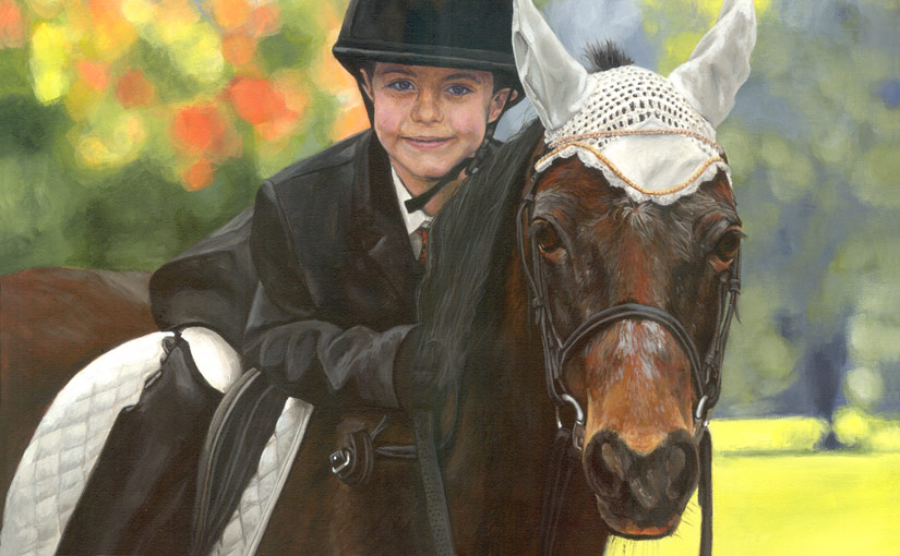 little boy on a pony painting
