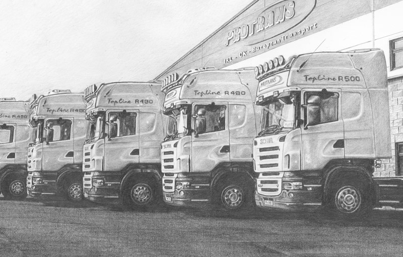 pencil drawing six trucks detail
