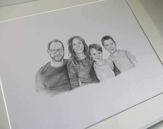 family drawing in a mount