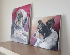two dog painting canvases