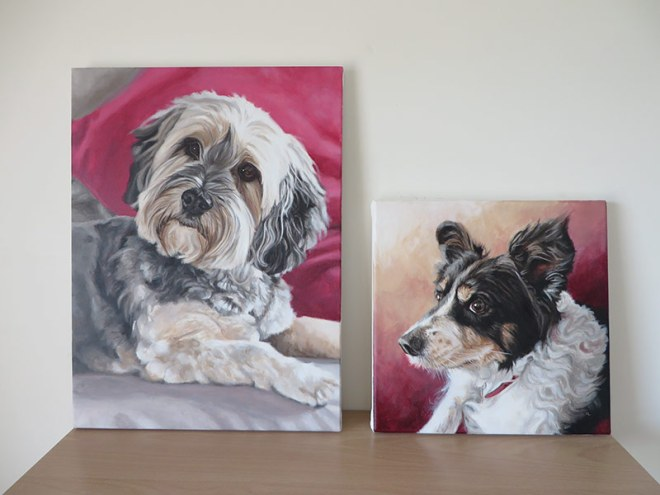 two dog portraits