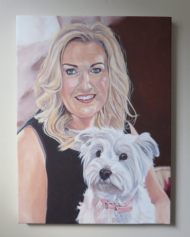 woman and her dog portrait
