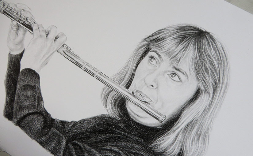 A drawing of a flutist