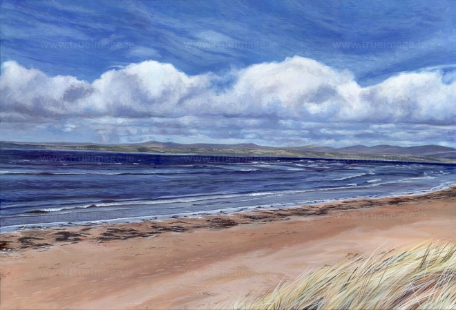acrylic painting of rossnowlagh beach in donegal