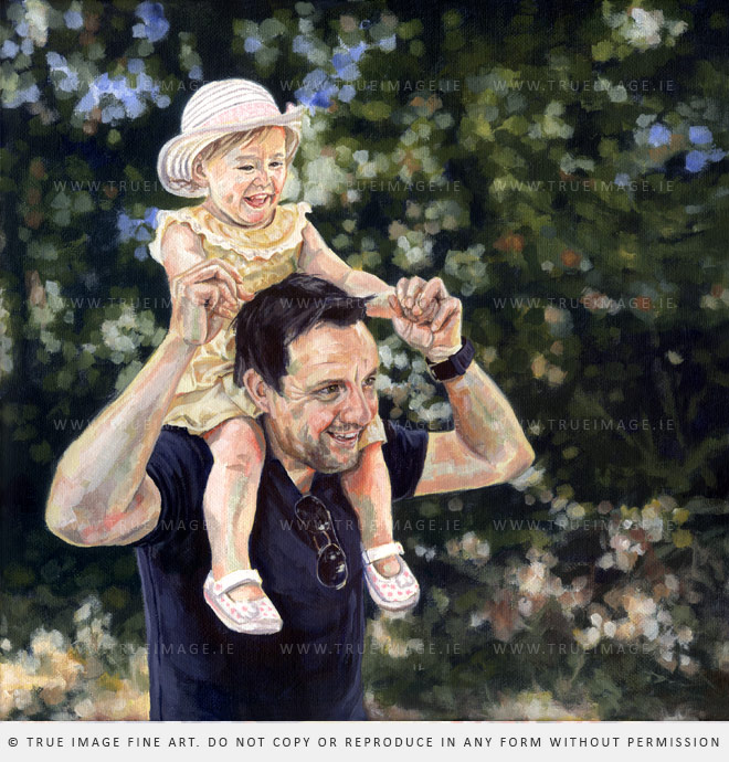 father and daughter portrait painting