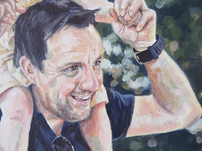 man painting detail