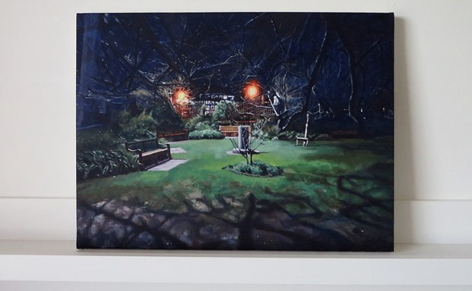 a painting of an urban park at night