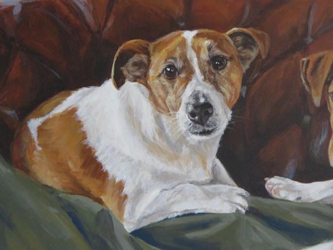 detailed view of the painting of a jack russell