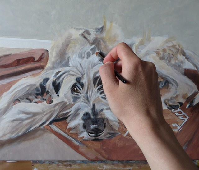 progress on the dog painting