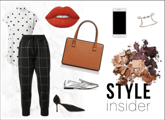 Classic black and white mixed print outfit