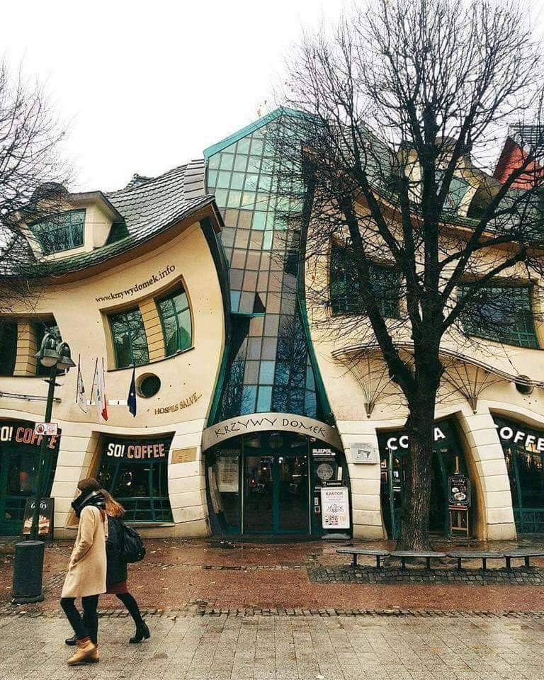 """The incredible architecture of """"The Drunk House"""", located in Sopot, Poland."""