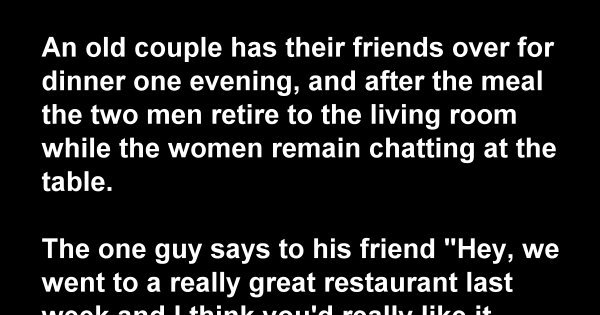 An Old Couple Has Their Friends Over For Dinner