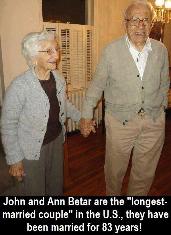 John and Ann Betar of Connecticut have just been named the longest married couple in the United  ...