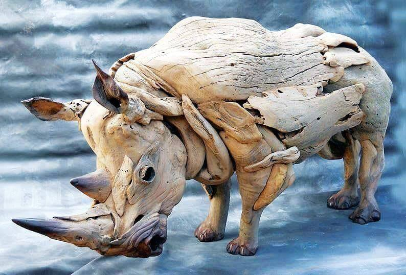 Rhino sculpture made from driftwood!  One word for this sculpture? :)