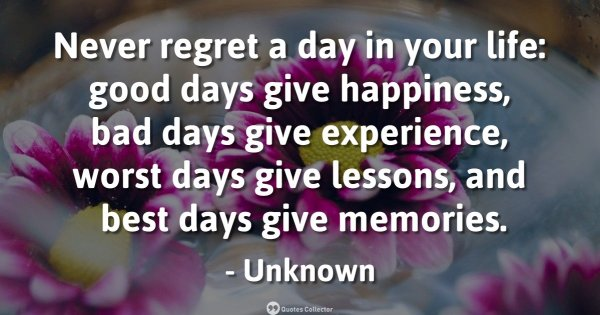 Never regret a day in your life: good days give happiness, bad days give experience, worst days  ...