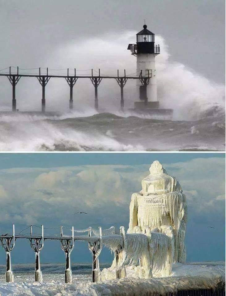 A lighthouse in Michigan, before and after major ice storm.