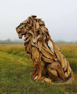 A wooden lion