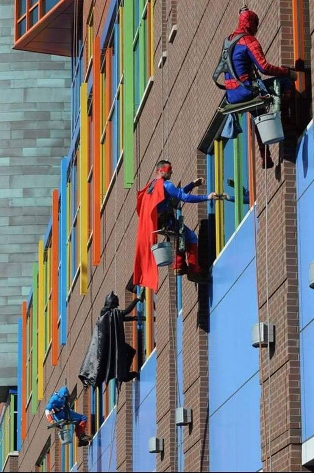 Window cleaners at children's hospital