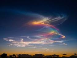 Extremely rare atmospheric phenomenon called rainbow bridge or circumhorizontal arc: when the su ...