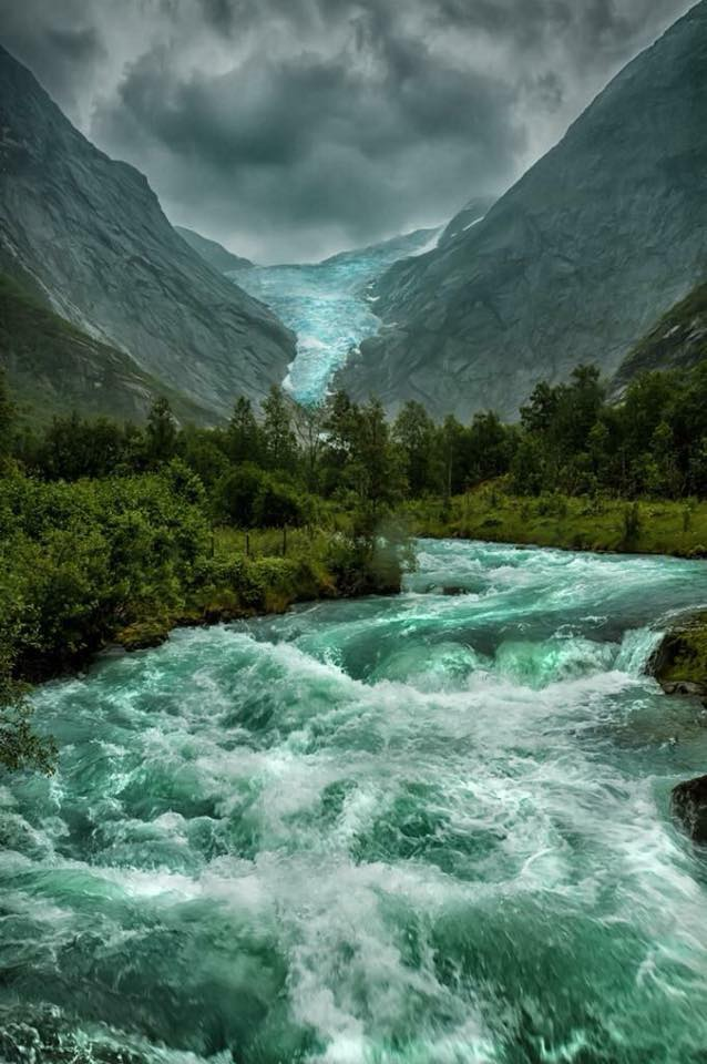 The melting Briksdalsbreen Glacier in Norway