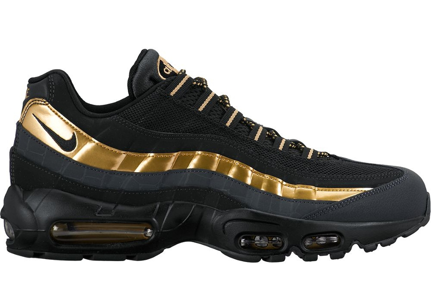 best service bb296 e8266 Nike Air Max 95 Black Metallic Gold  Anthracite-38416007